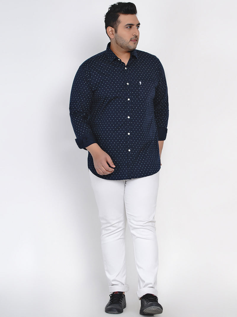NAVY BLUE PRINTED SHIRT - 4257B