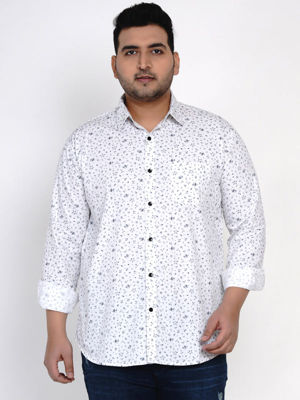 WHITE COTTON PRINTED SHIRT - 4254B