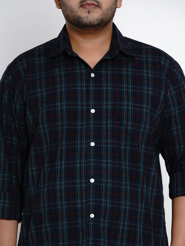 Blue Tartan Check Cotton Shirt - 442A