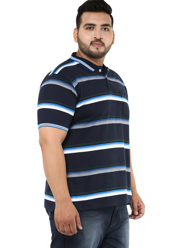 Navy Blue Striped T-Shirt-3136