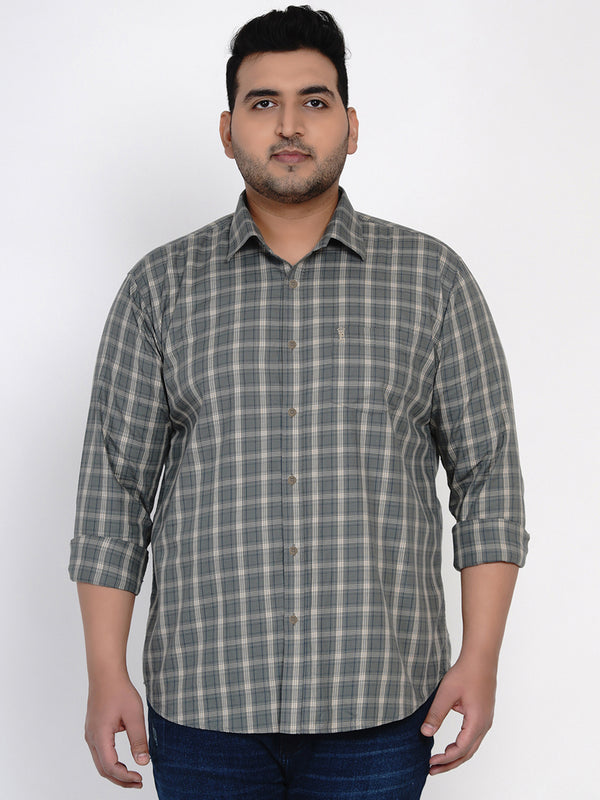 SEA GREEN CHECKED SHIRT - 4258A