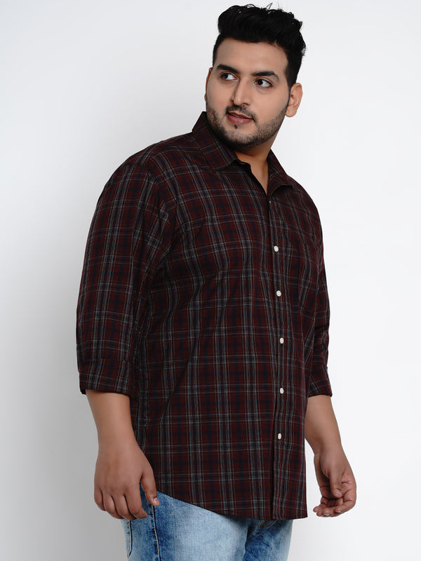 Maroon Tartan Check Cotton Shirt - 442B