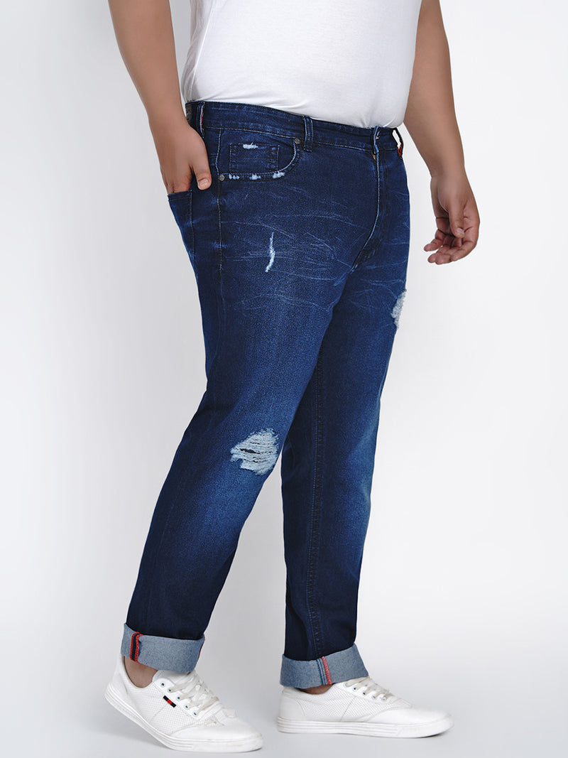 AZURE BLUE STRETCH RIPPED JEANS - 2008