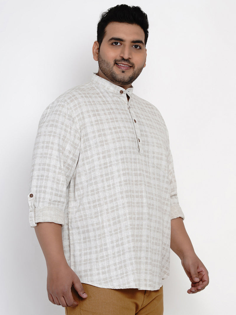BEIGE PRINTED COTTON LINEN KURTA SHIRT- 4250