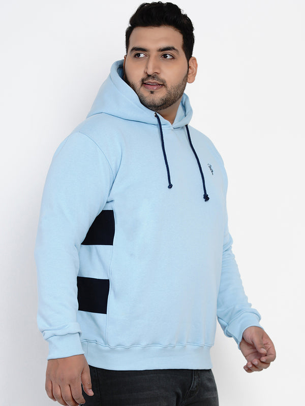 BLUE FLEECE HOODED SWEATSHIRT- 7604A