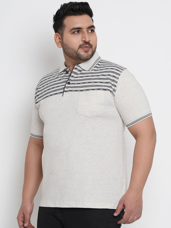 IVORY WHITE MULTI STRIPED HALF SLEEVES POLO - 3258B
