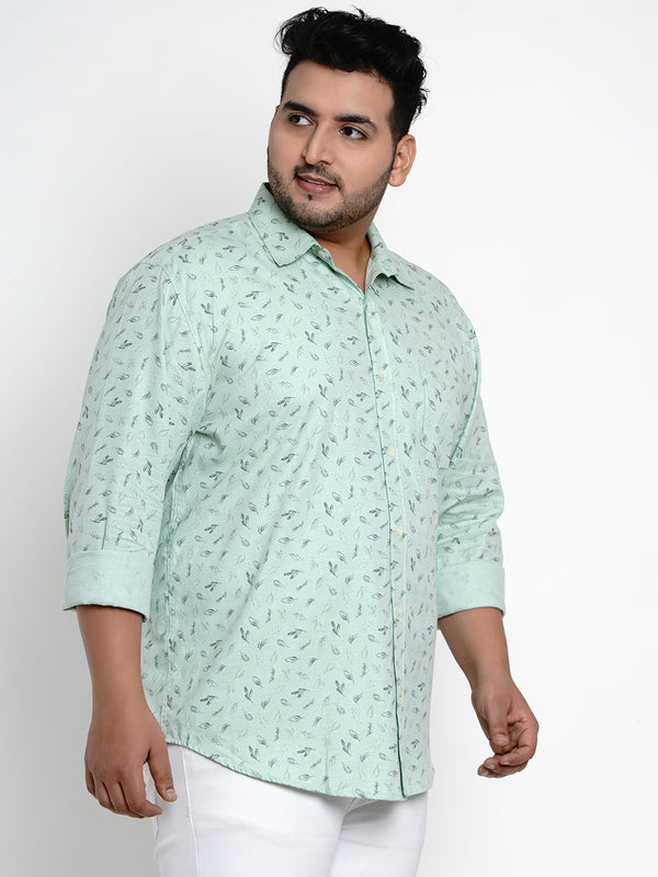 Green Floral Print Cotton Shirt - 443A