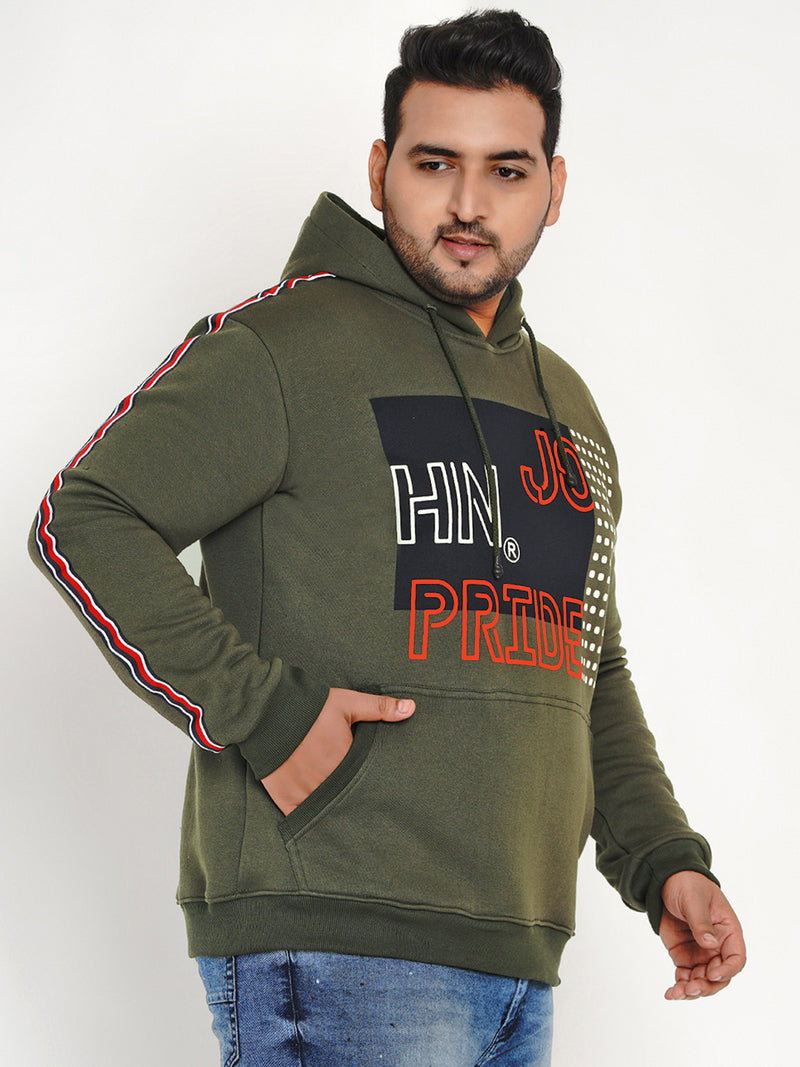 OLIVE FLEECE HOODED SWEATSHIRT - 7598