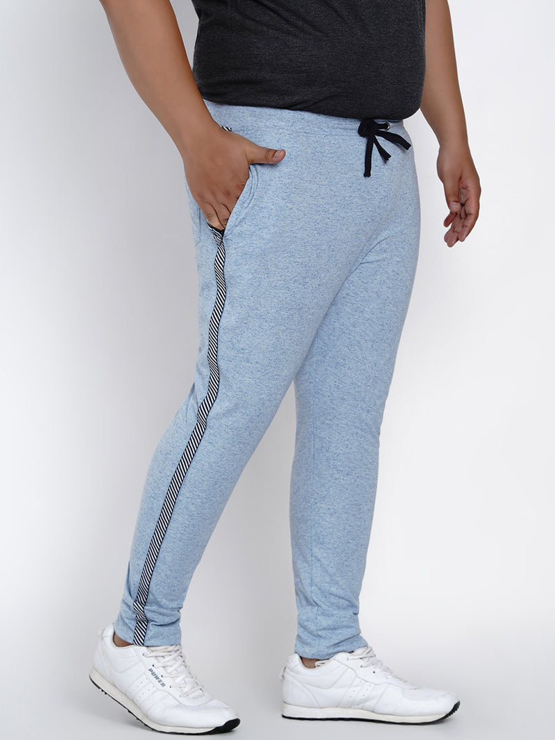 BLUE STRAIGHT FIT COTTON TRACKPANTS - 766