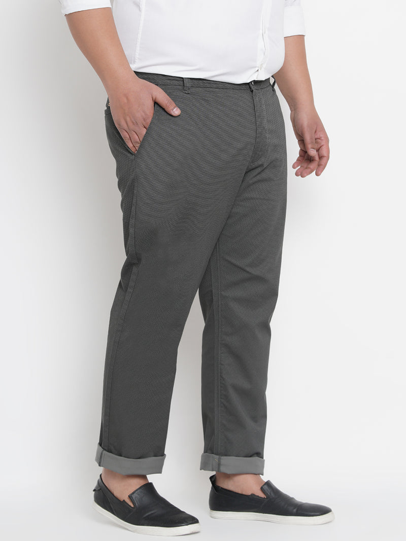 GREY SHADE GEOMETRIC PATTERN STRETCHABLE TROUSER - 2160C