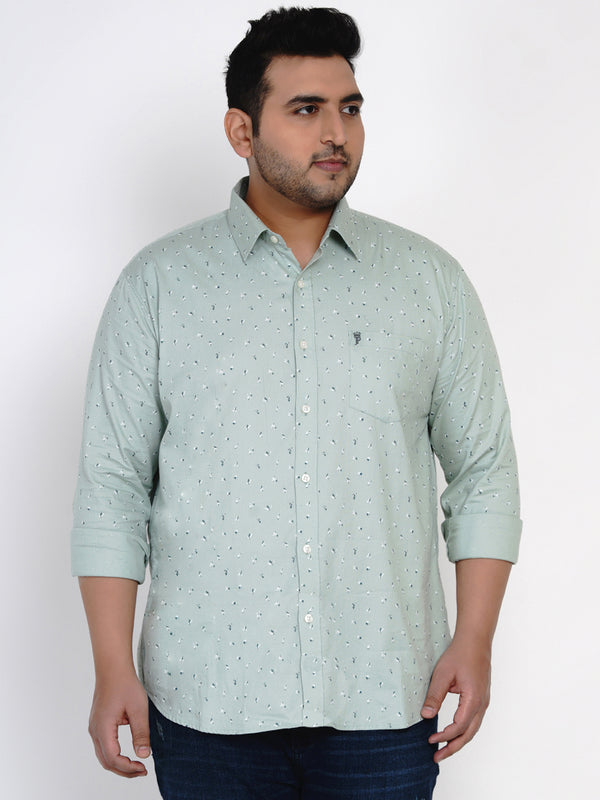 SEA GREEN COTTON PRINTED SHIRT - 4255A