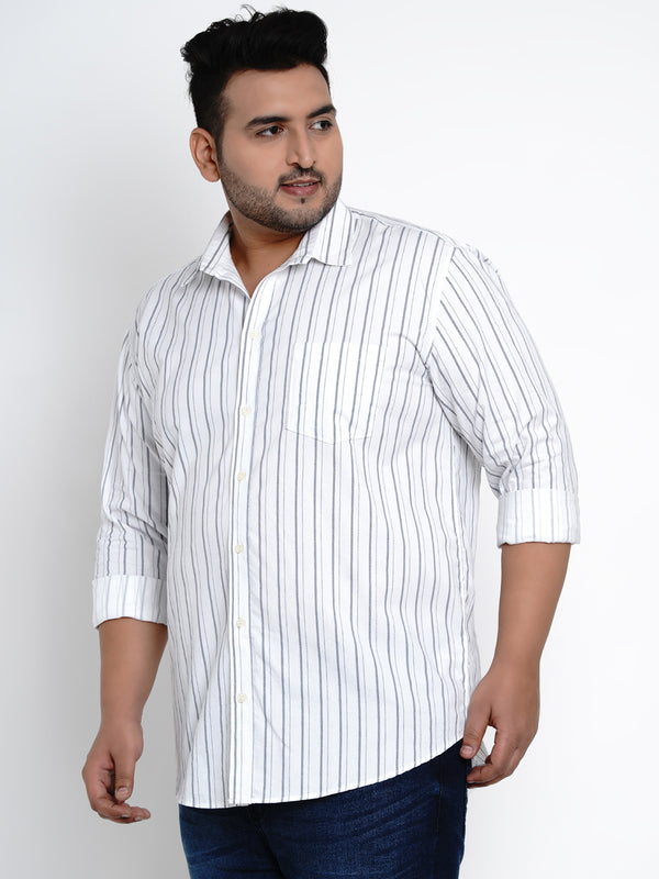White Pinstripes Strip Cotton Shirt - 441B