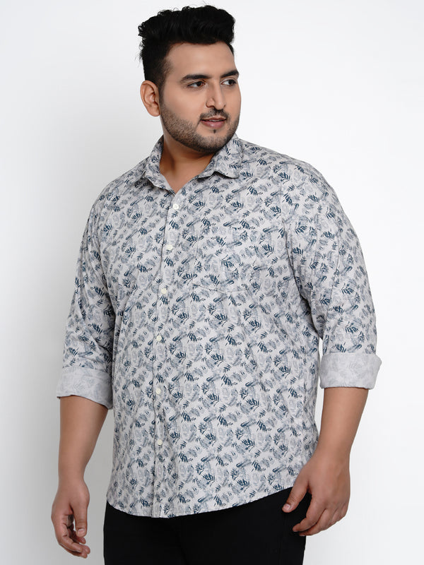 Grey Floral Print Cotton Shirt - 431