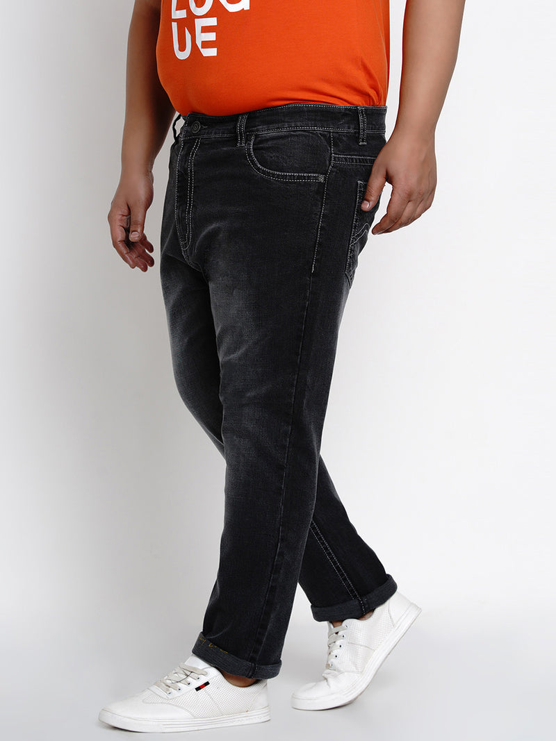 GREY STRETCHABLE JEANS WITH THICK STITCHING DETAILS - 2502