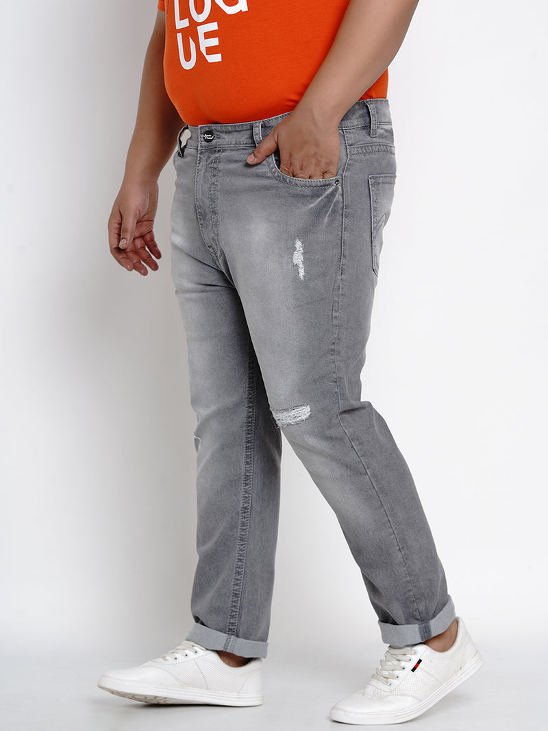 Pewter Grey Stretchable Jeans With Thick Stitching Details- 2001