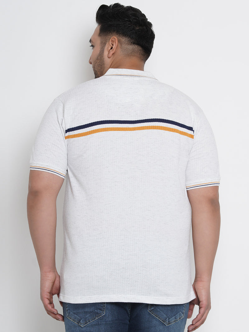 SALT WHITE SELF DESIGN POLO - 3256A