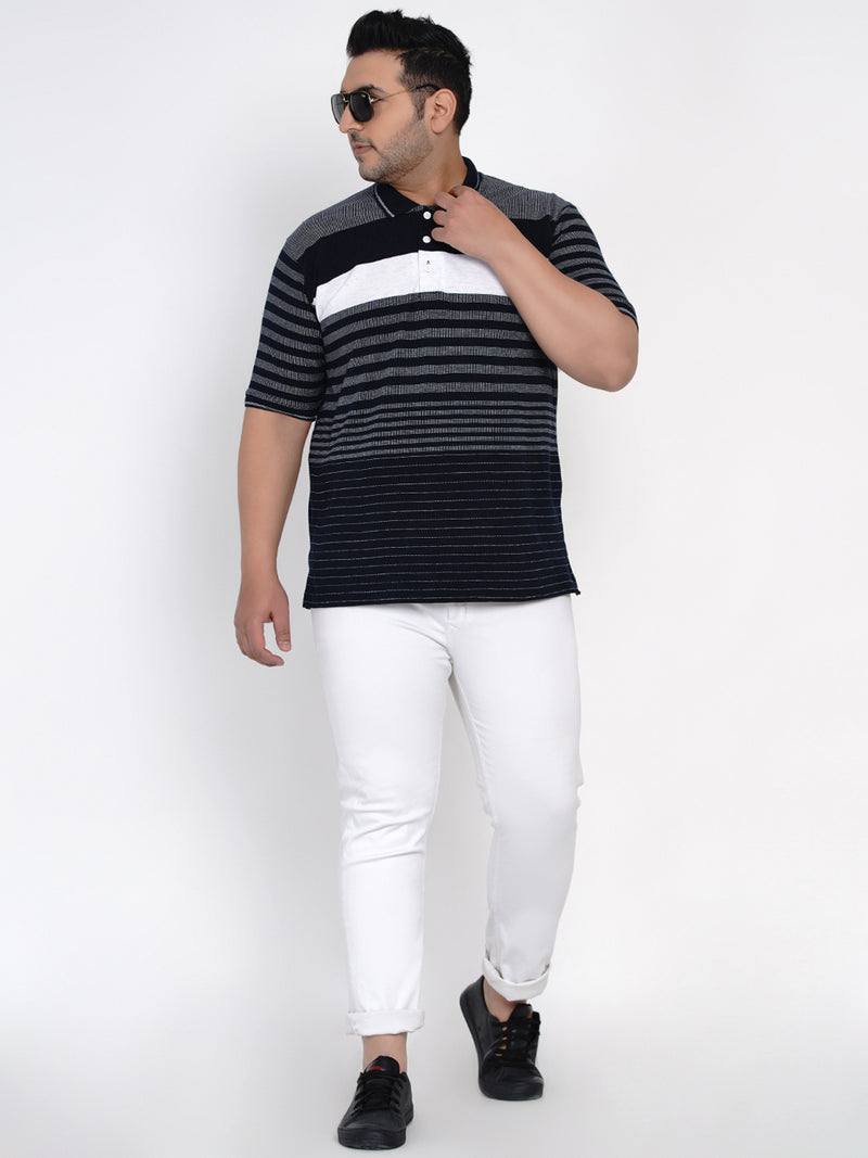 NAVY BLUE COLOUR CONTRAST STRIPED POLO TEE - 3270