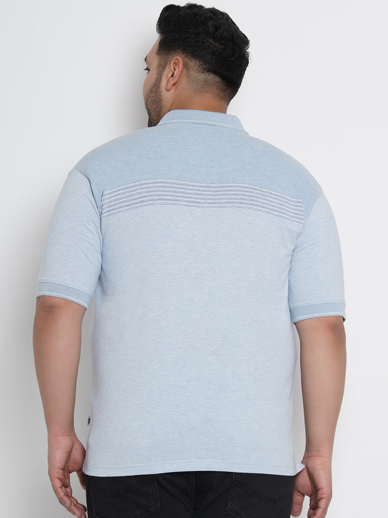 ELEGANT SELF DESIGN BLUE POLO T-SHIRT - 3257B
