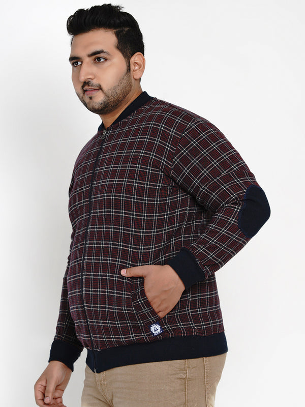 CHECK MAROON COTTON SWEATSHIRT - 7607