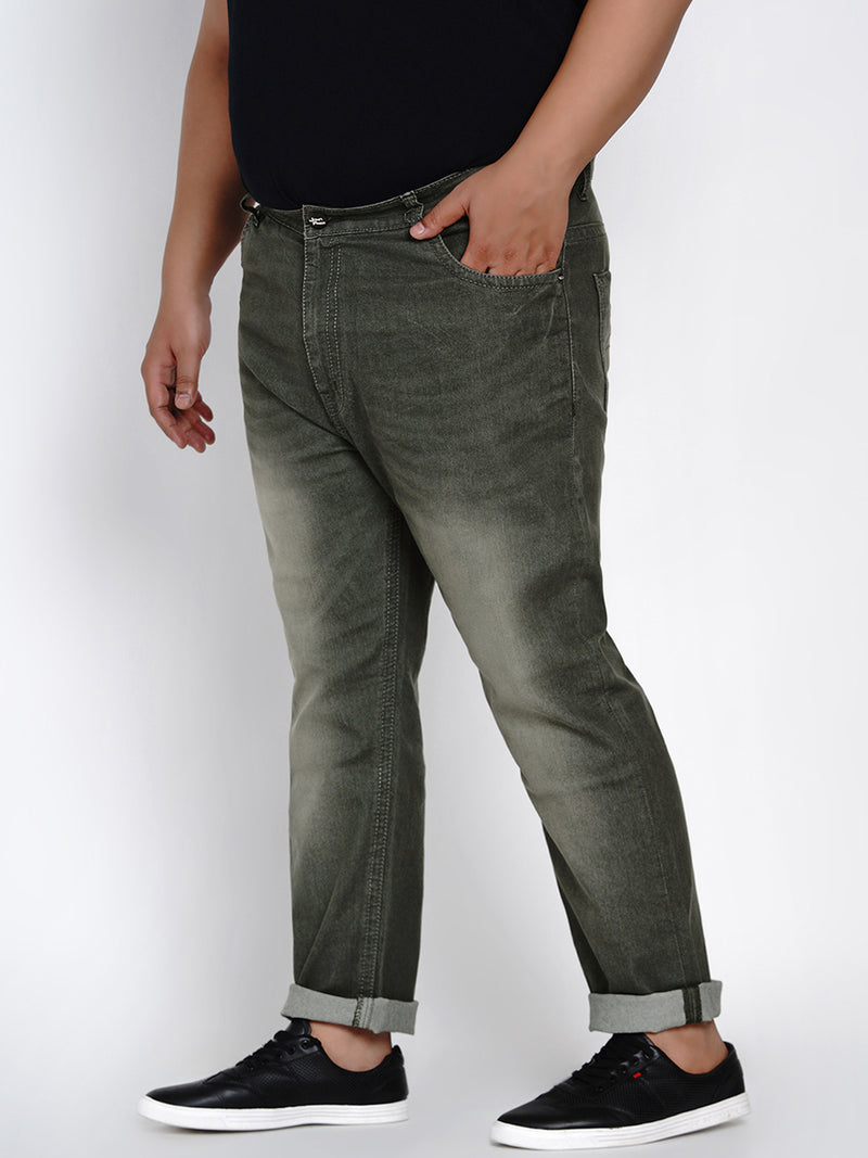 OLIVE STRETCHABLE JEANS WITH THICK STITCHING DETAILS - 2003A