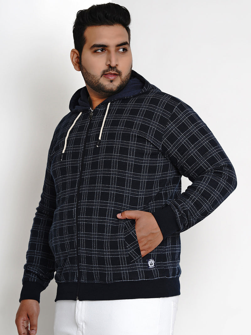 NAVY BLUE FLEECE HOODED SWEATSHIRT - 7609