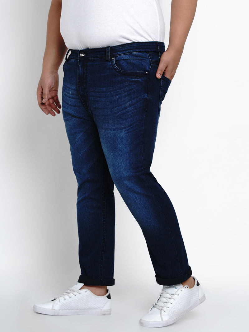 EGYPTIAN BLUE STRETCHABLE JEANS WITH THICK STITCHING DETAILS - 2504