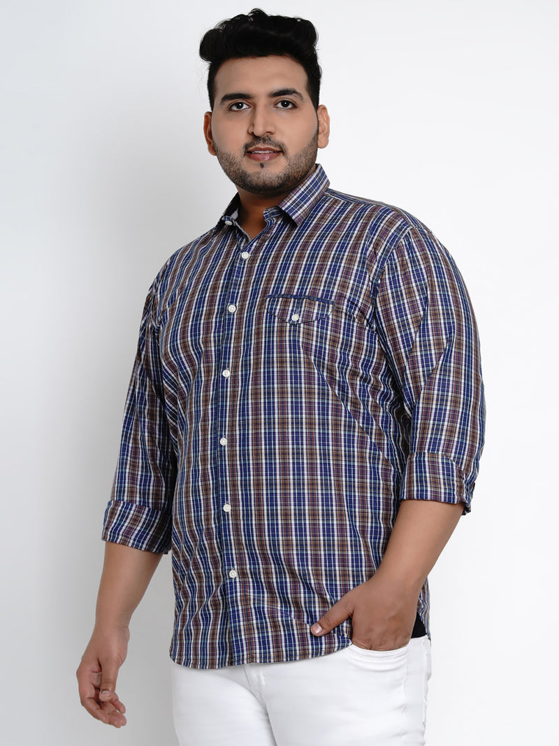 Blue Gingham Check Cotton Shirt - 433