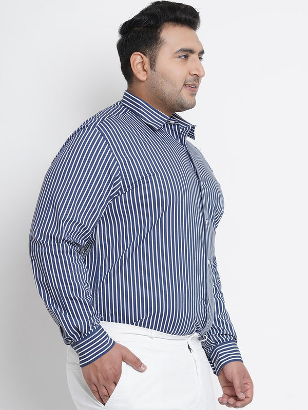 Egyptian Blue Striped Formal Shirt- 4226A