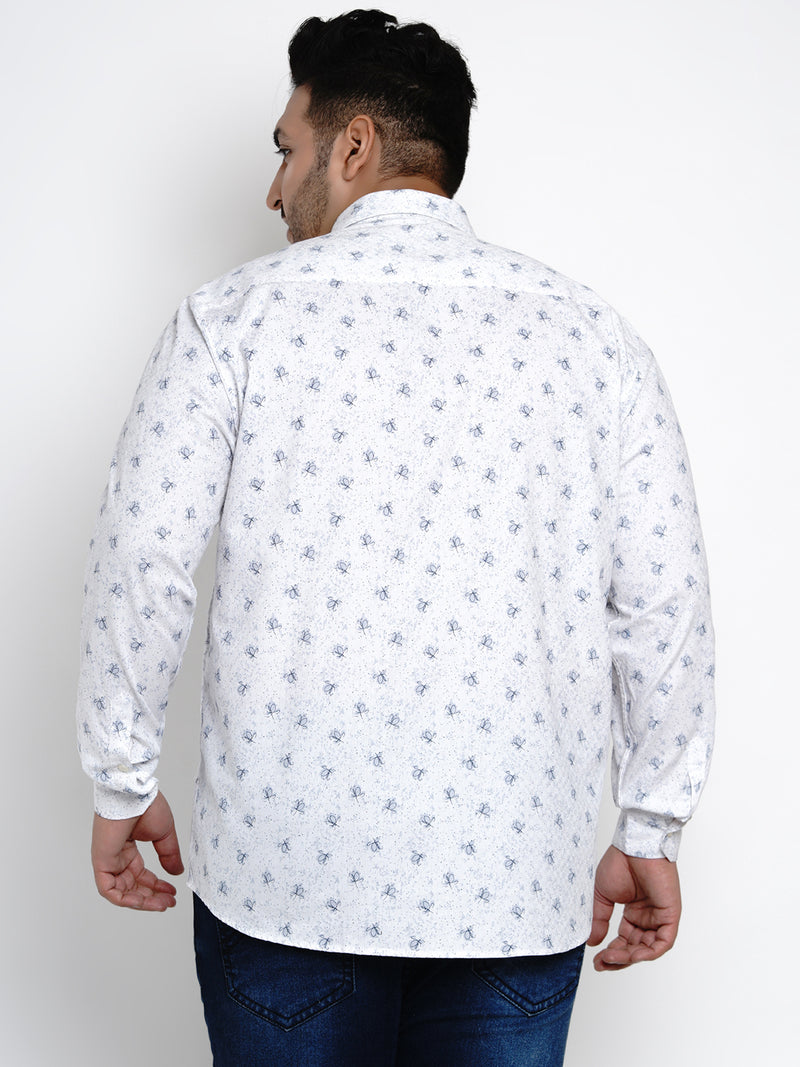 White 'Textured' Printed Cotton Shirt - 440B
