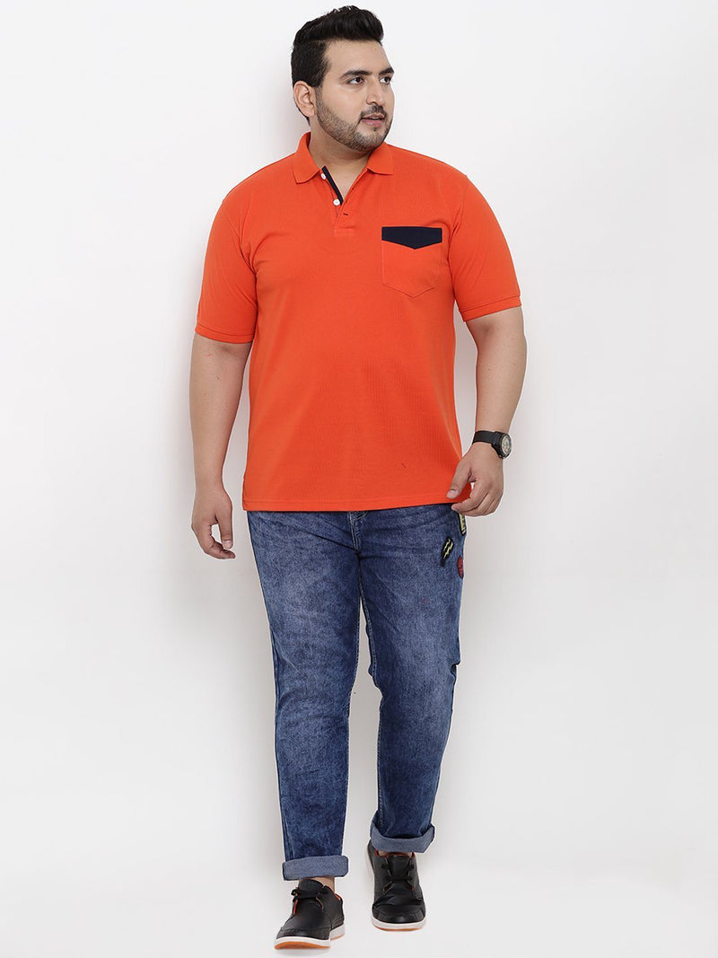 Orange Half Sleeve Polo T-Shirt- 3169B