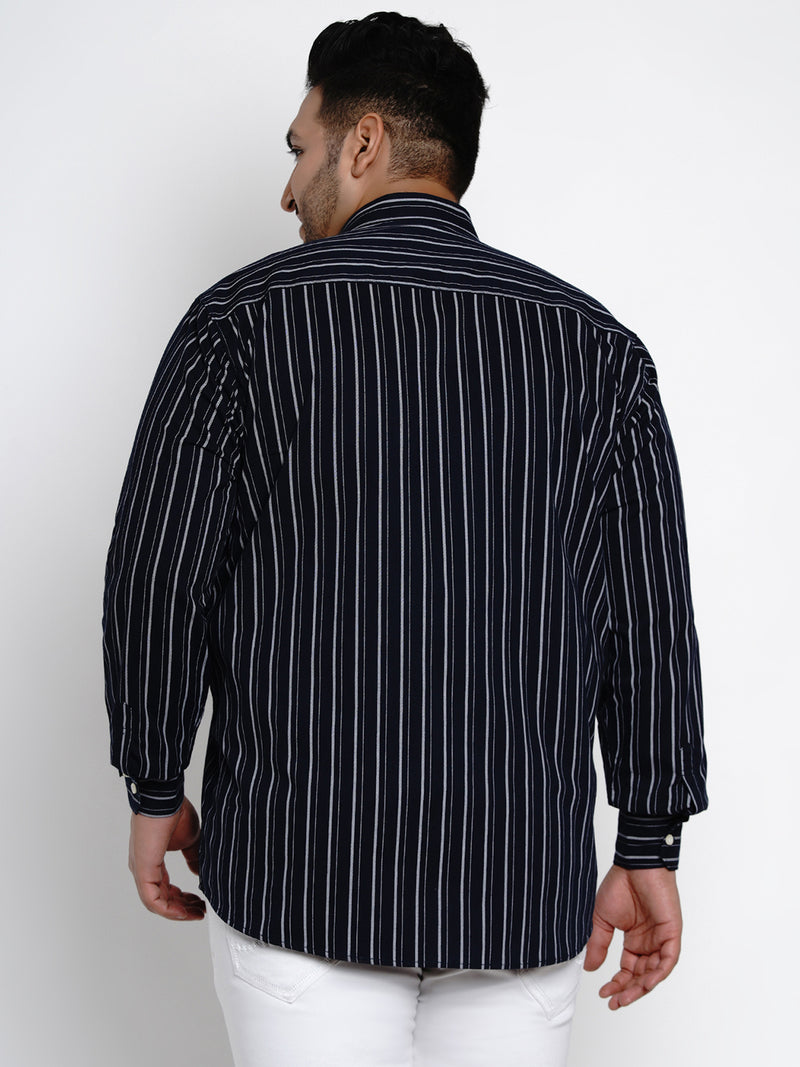 Navy Blue Pinstripes Strip Cotton Shirt - 441A