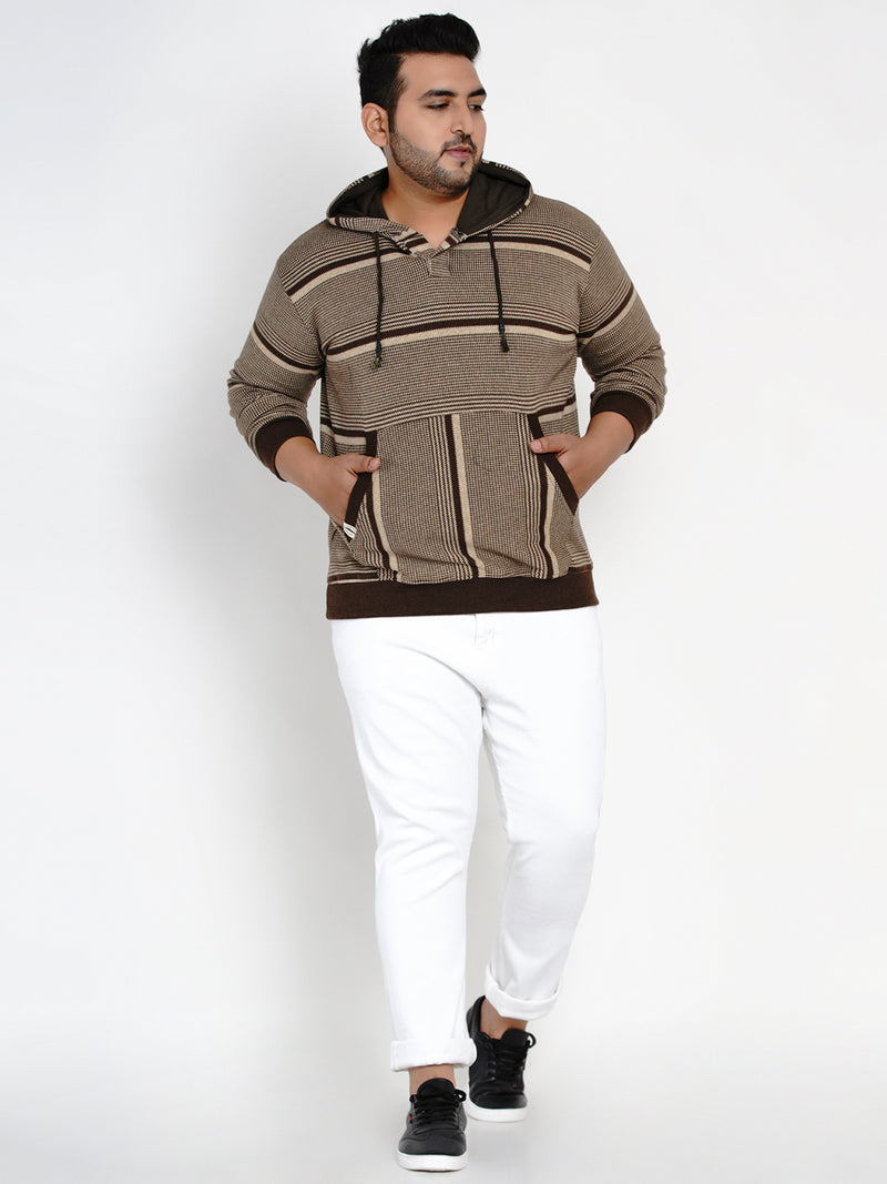 COFFEE BROWN FLEECE HOODED SWEATSHIRT- 7612