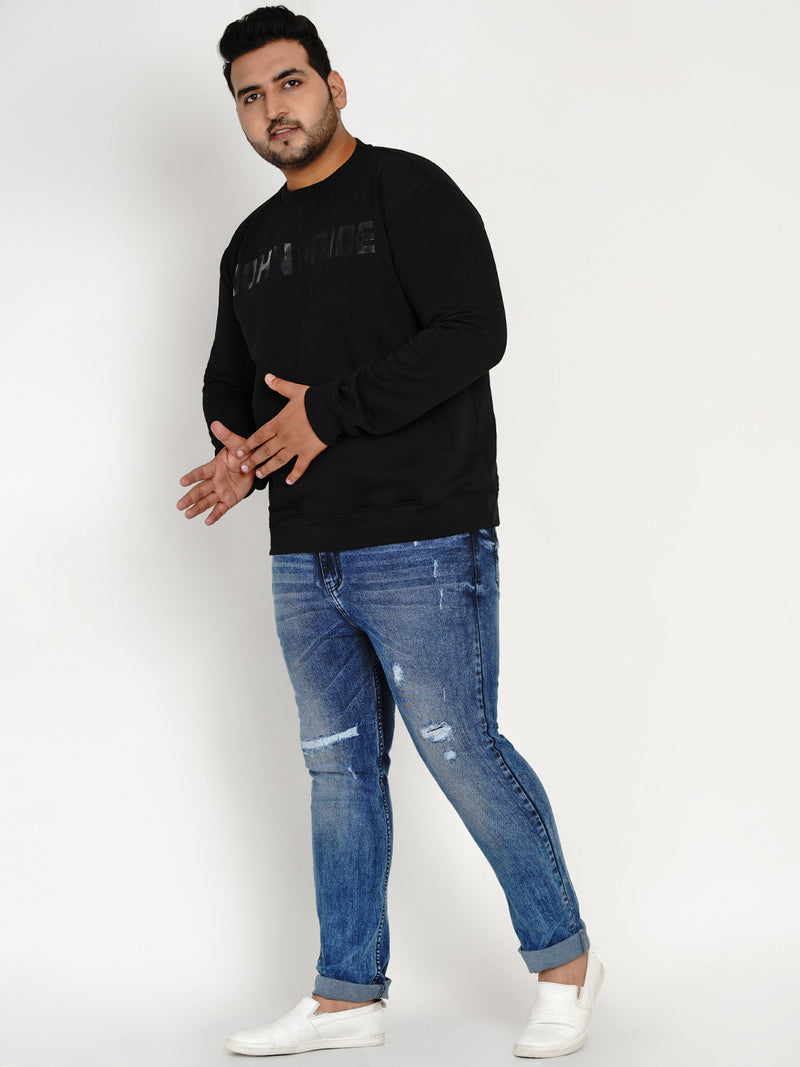 BLACK ROUND NECK SWEATSHIRT - 7593