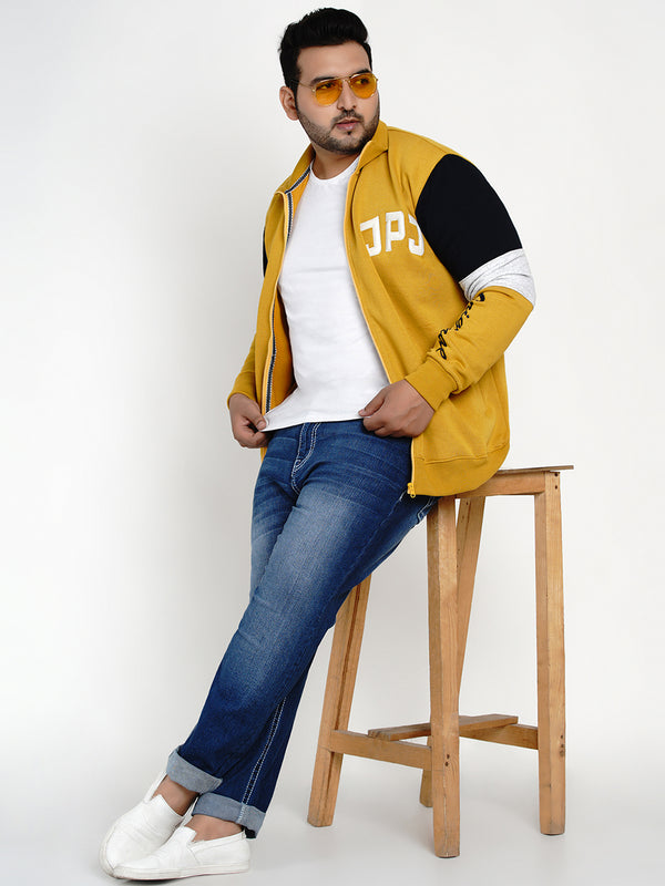 MUSTARD COLOR BLOCKED SWEATSHIRT - 7601