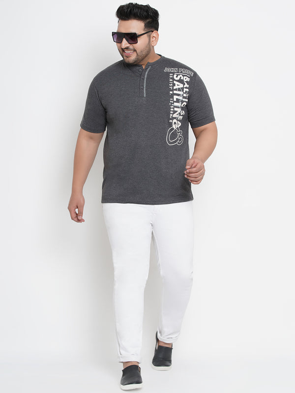 SLOGAN PRINT FOSSIL GREY HALF SLEEVES POLO TEES - 365