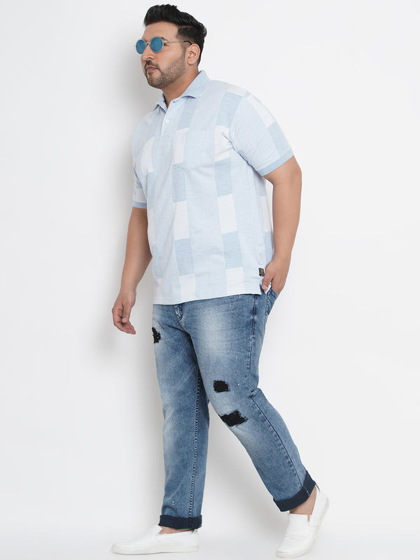 CASUAL BLUE HALF SLEEVES POLO T-SHIRT - 3259B