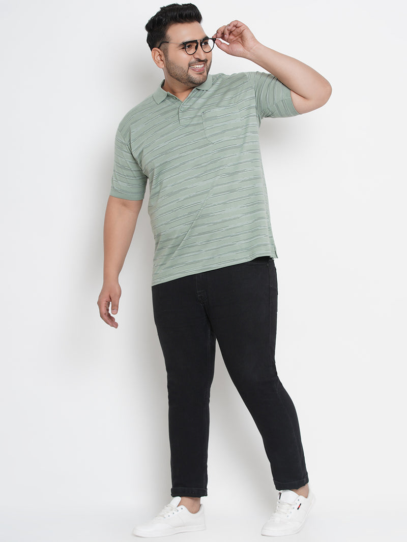 SEA GREEN WITH STRIPPED POLO TEES - 3260