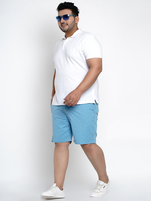 BLUE STRETCHABLE CHINO SHORTS - 6661C