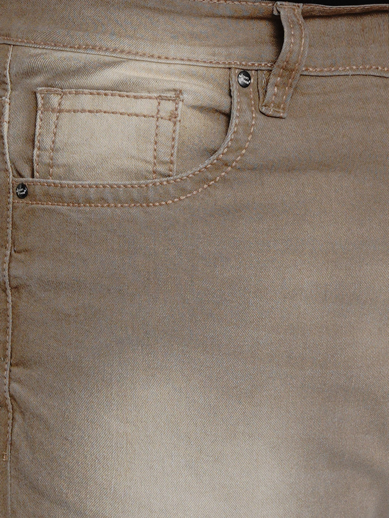 Khaki Stretchable Jeans With Thick Stitching Details - 2002