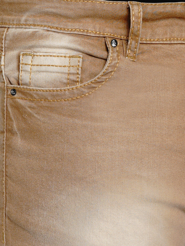 Camel Stretchable Jeans With Big & Thick Stitching Details - 2004