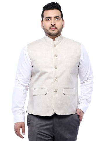 Cream Solid Nehru Jacket- 7423