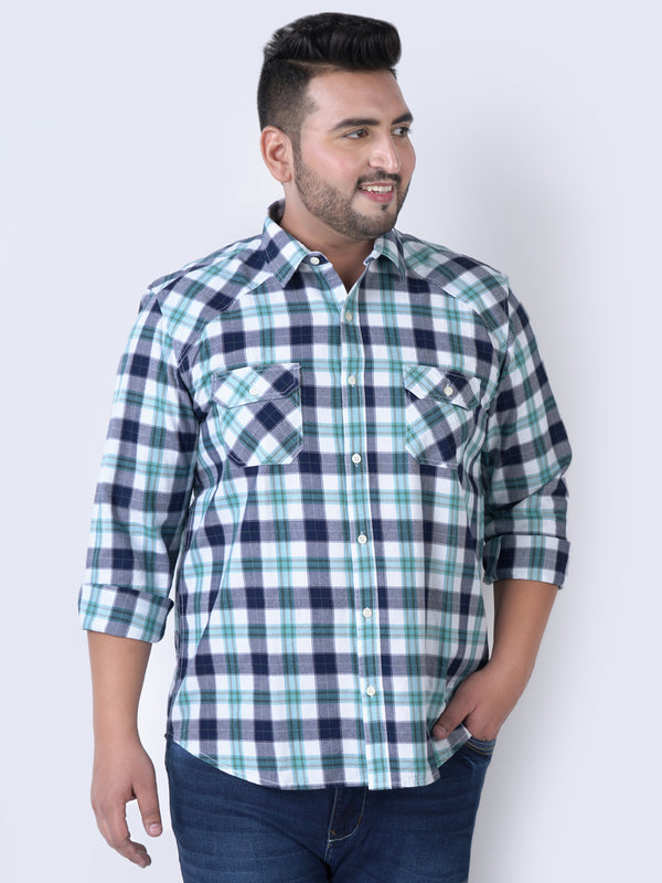 White & Green Check Shirt - 4205B