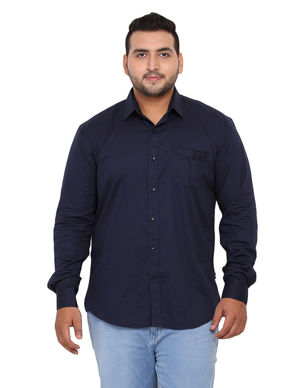 Navy Blue Solid Cotton Shirt - 2179C