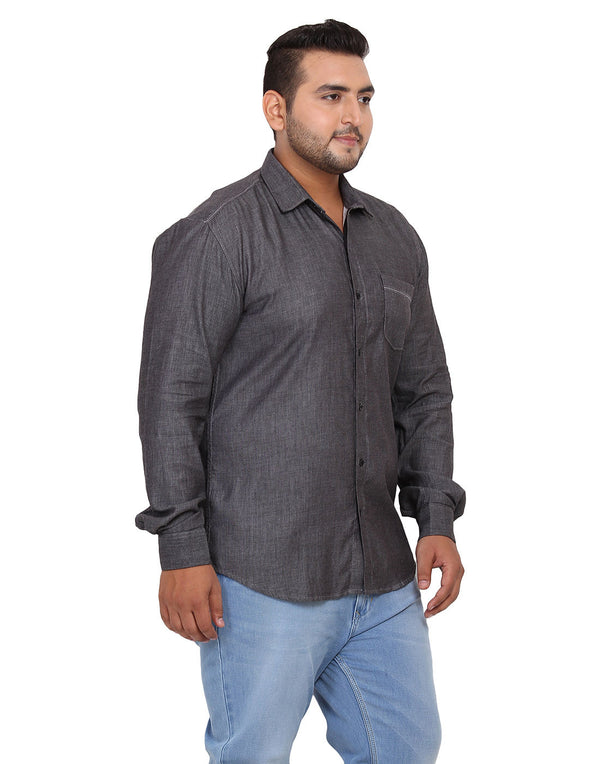 Black Solid Cotton Shirt - 2181B
