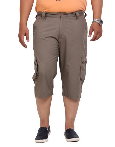 Khaki Cotton Capri