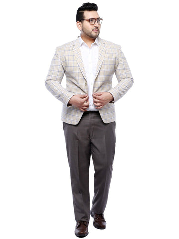 Beige Checked Blazer- 7705