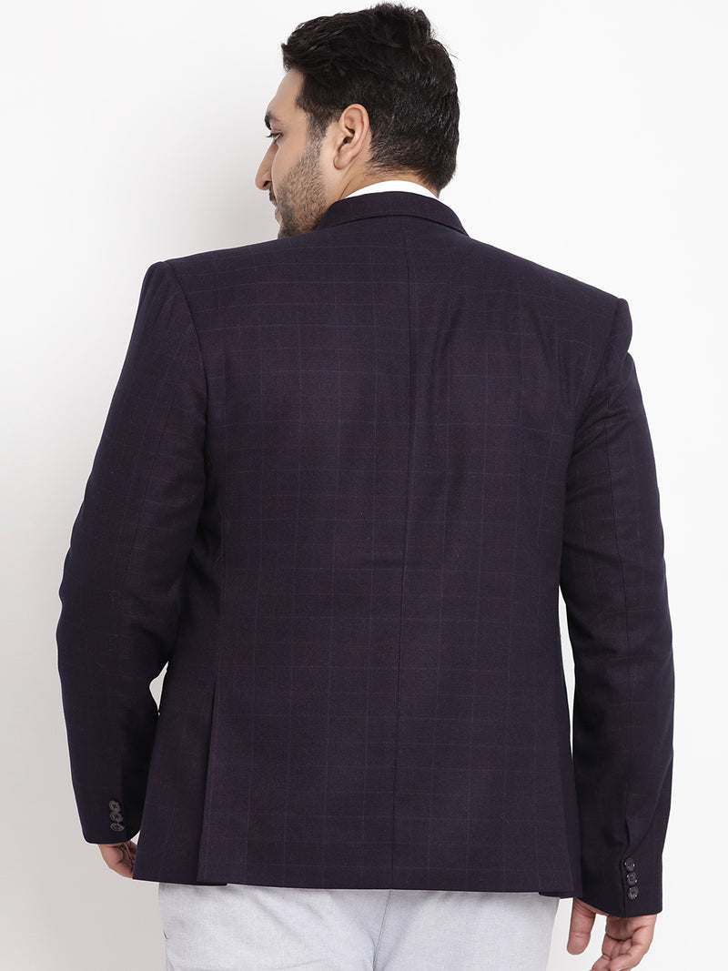 Navy Blue Coloured Checked Tweed Blazer- 7710