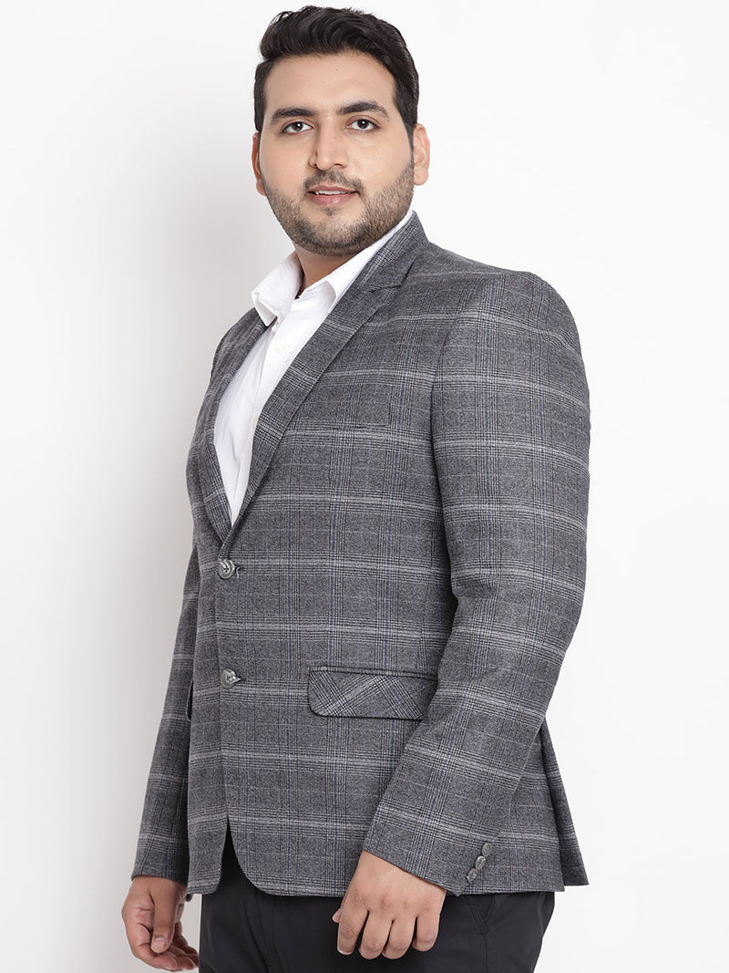 Grey Coloured Checked Tweed Blazer- 7712