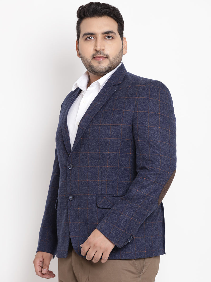 Navy Blue Coloured Checked Tweed Blazer- 7715