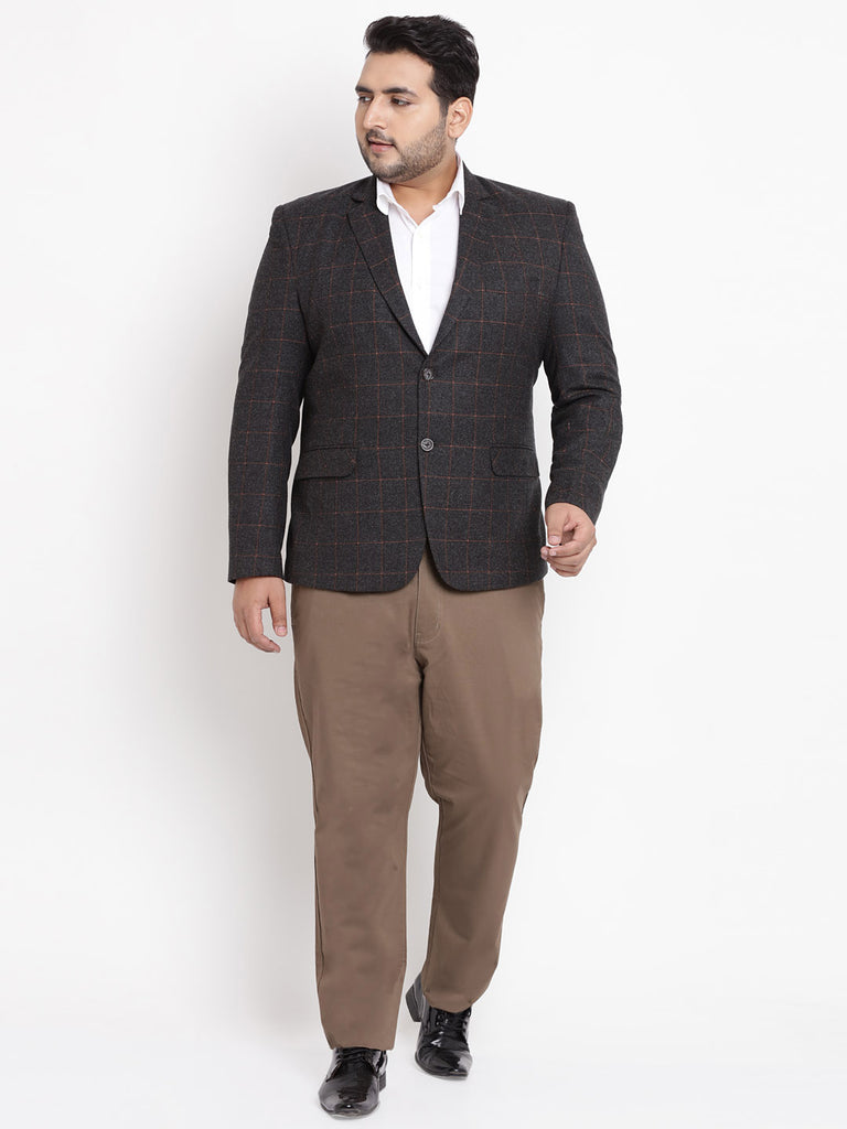 Charcoal Coloured Checked Tweed Blazer- 7716